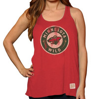 Original Retro Brand Minnesota Wild Ladies Relaxed Racerback Tank Top - Red