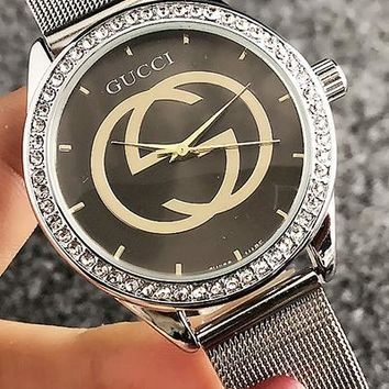 GUCCI Woman Men Fashion Diamonds Quartz Classic Wristwatch Watch