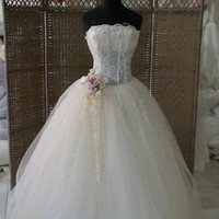 Off-Soulder Floral Long Wedding Dress White - picture