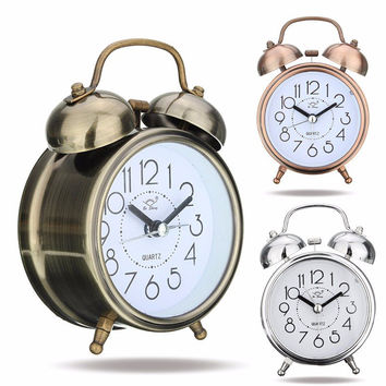 Bronze Double Bell Mute Alarm Clock Quartz Movement Desk Clock