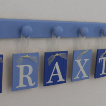 Baby Boy Nursery Decor Hanging Wall Letters Name BRAXTON with 7 Peg Board Blue Decor