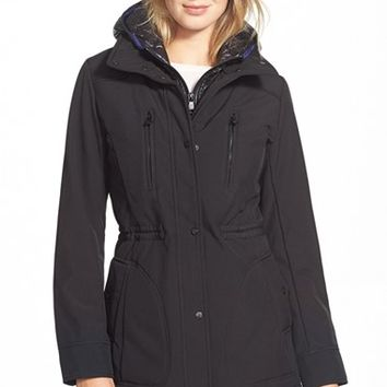 Women's Vince Camuto Soft Shell Coat with Removable Hooded Bib,