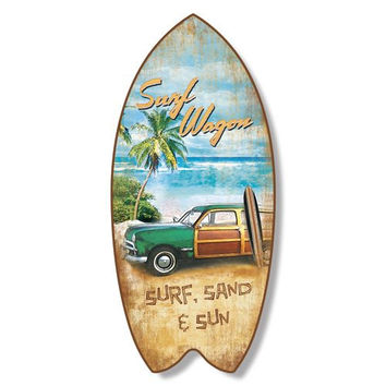 Surfboard Plaque Surf Wagon Beach Coastal Wall Decor