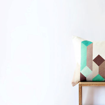 "White Geometric Pillow with Mint, Teal, Aqua, Blue, Gray and Brown Wheat Figure - 45cm Cushion - 18""x18"" Cushion Cover"