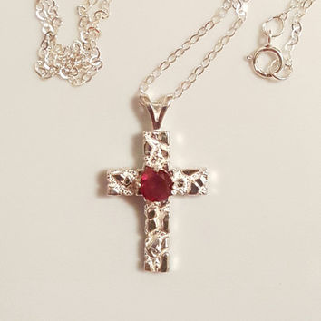 Cross Pendant Necklace With Red Garnet Gemstone, 925 Sterling Silver, January Birthstone, Garnet Jewelry