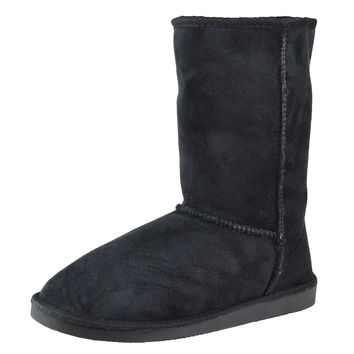 Womens Mid Calf Boots Fur Lined Pull On Winter Casual Pull on Shoes Black SZ