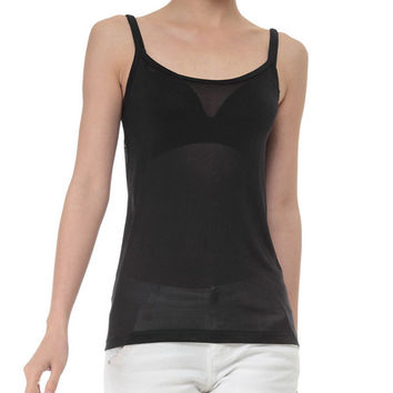 Women's Fashion Black Spaghetti Strap Tops Bottoming Shirt [4918287940]