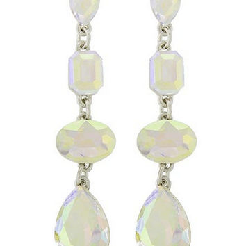 Beautiful Iridescent AB Teardrop, Oval and Emerald Cut Stones on Dangle Silver Tone Earrings