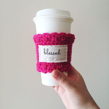 Solid color crocheted knitted inspirational coffee cup sleeve cozy