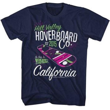 2016 Brand Tshirt Homme Tees Back To The Future Hill Valley Hoverboard Company Navy Adult T Shirt Cotton Low Price Top Tee