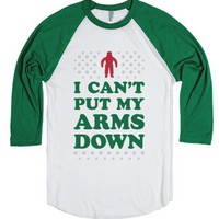 I Can't Put My Arms Down-Unisex White/Evergreen T-Shirt