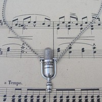 LOVE TO SING brass vintage style microphone necklace