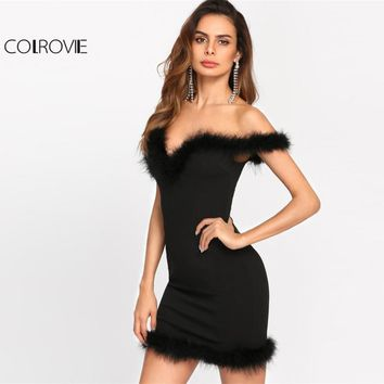 COLROVIE 2017 Bodycon Dress Faux Fur Trim Sweetheart Bardot Party Dress Ladies Off The Shoulder Short Sleeve Short Dress
