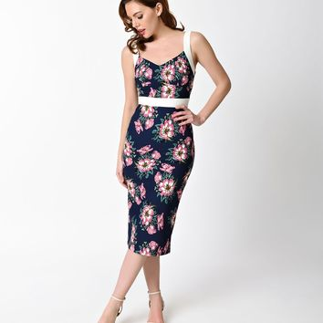 Unique Vintage 1950s Style Navy & Floral Summerstock Wiggle Dress