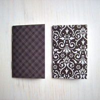 2 Tiny Journals Set, Black and White Journals, Jotters, Mini Journals, Small Notebooks, Geometric - Set of 2