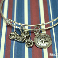 Captain America /Steve Rogers Bangle Bracelet, Vibranium Shield, And Motorcycle Charms / First  Avenger, Marvel, Fandom Magic