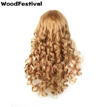 heat resistant synthetic wigs long blonde wavy
