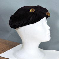 HOLIDAY SALE Vintage 1950's Clemar Original Brown Felt and Sequins Hat Made in USA