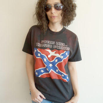 Vintage Black and Red 10 Years Later Lynyrd Skynyrd 1987 Tribute Tour Shirt