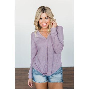 Thermal Button Knot Top- Lilac