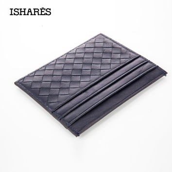 ISHARES 2016 New Genuine Leather Weave Men Women Wallets Credit ID Card Holder Male Mini Wallet Case Purse Hand-woven IS6051