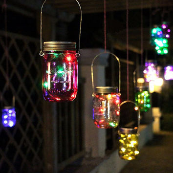 Solar Power Hanging Glass Jar Lamp 8 LED Beads Garden Courtyard Landscape Decor Light