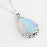 Fashion Stone Pendants Necklaces Amethyst Pendant Opal Onyx Rose Quartz Goldstone Necklace Teardrop Inlaid Alloy Flower Women