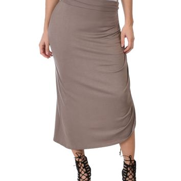 Lyss Loo Tie That Knot Fold Over Taupe Maxi Skirt