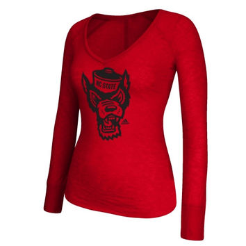 NC State Wolfpack adidas Women's Burnout Element Logo Long Sleeve T-Shirt - Red