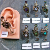 Customizable Web-Coil Steampunk Ear Cuff in Bronze (Choose stone)