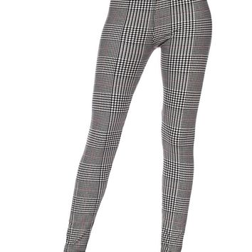Glen Plaid With Burgundy Stripe Print Leggings