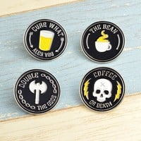 Coffee or Death Brooches Enamel Pin for Boys Girls Ouija Lapel Pin Hat/bag Pins Denim Jacket Shirt Women Brooch Badge Q272
