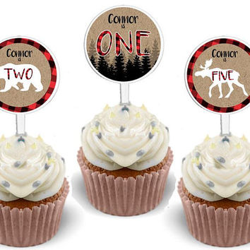 Lumberjack Cupcake Toppers - Personalized Cupcake Toppers - Red Plaid Boy Birthday - Red Flannel Cupcake Toppers - Bear Cub - Moose - Woods
