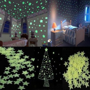 New 100 Pcs Lots Wall Sticker Art For Kids Rooms Home Decoration Accessories Decor Glow In The Dark Star Decal Baby