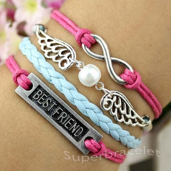 Milk tea color - silver pearl bracelet best friend bracelet - infinity charm bracelet - the snitch bracelet - girlfriend and BFF