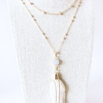 Feather and Druzy Pendants on a Satellite Ball Chain