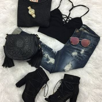 All or Nothing Cropped Top: Black
