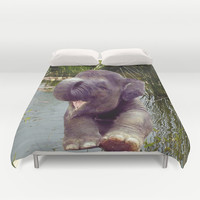 Baby Elephant Duvet Cover by Erika Kaisersot