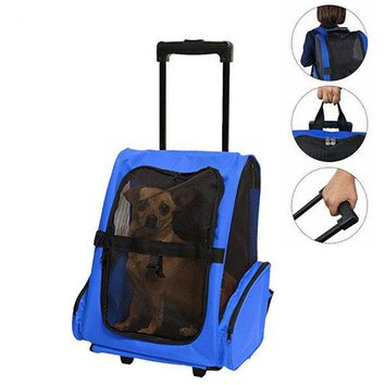 Travel Pet Carrier Stroller Rolling Back Pack Luggage Dog Puppy Trolley Bag