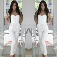 White Rompers Jumpsuit Sleeveless High Waist Solid Pocket Pant