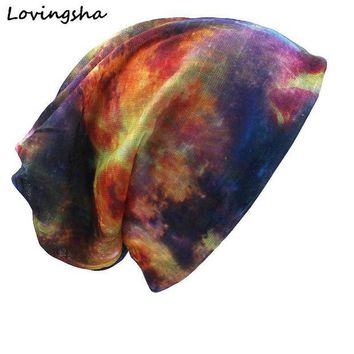 VONG2W LOVINGSHA Brand Autumn And Winter Dual-use Hats For Ladies thin Galaxy Design Skullies And Beanies Women Scarf Face Mask HT012
