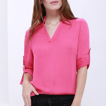 Stand Collar Roll-Up Sleeve Plus Size Chiffon Blouse