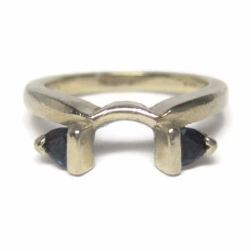 Vintage 14K White Gold Sapphire Wedding Ring Guard Size 4