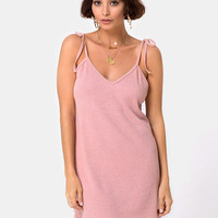 Yellav Slip Dress in Knit Crinkle Rib Pink by Motel