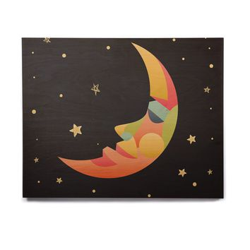 "Fotios Pavlopoulos ""Colorful Moon"" Black Gold Celestial Nature Mixed Media Illustration Birchwood Wall Art"