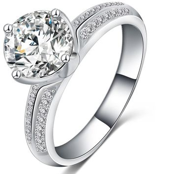 Silver Color Inlay Cubic Zirconia Promise Rings