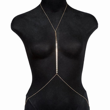 Gold dainty BodyChain Harness