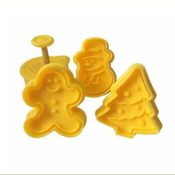 4Pcs Christmas Pattern Plastic Baking Mold,Kitchen Biscuit Cookie Cutter Pastry,Plunger Stamp Die Fondant Cake Decorating Tools