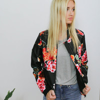 Midnight Floral Bomber Jacket