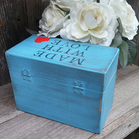 """Blue Hearts SHABBY CHIC / Rustic Wood Recipe Box STAMPED with """"Made With Love"""" on Top"""